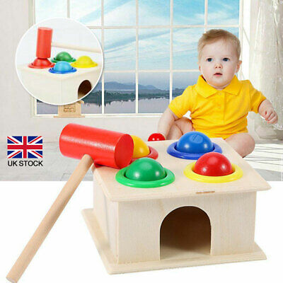 £7.40 • Buy Kids Baby Child Wooden Hammering Ball Playing Game Hammer Box Interactive Toys