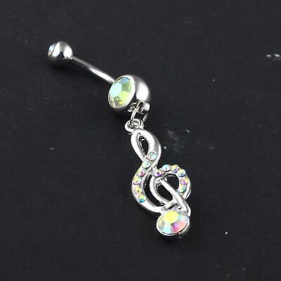 £5.03 • Buy New Ab Crystal Bar Belly Ring Body Piercing Button Navel Music Note Long