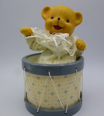 £14.39 • Buy Vintage Automaton Teddy Bear In Drum Wind Up Music Box Plays Lullaby