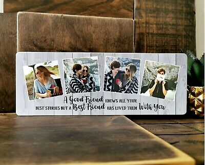 £10.99 • Buy 11x4  Personalised Wooden Photo Block Best Friend Quote Birthday Gift BFF Frame