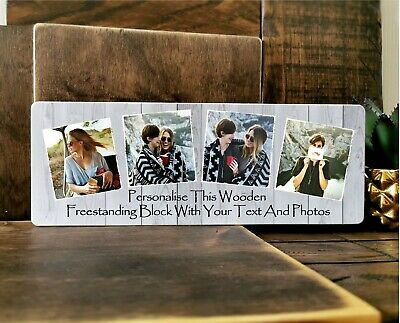 £11.99 • Buy 11x4  Personalised Wooden Family Photo & Text Block Frame Best Friend Baby Gift