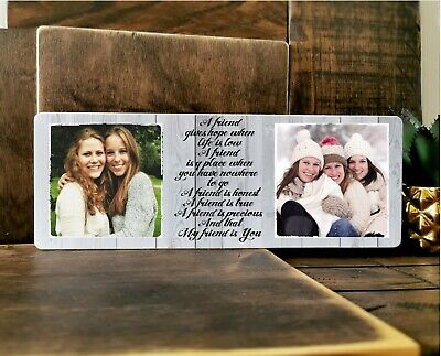 £8.99 • Buy 11x4  Personalised Wooden Photo & Text Block Best Friend Birthday Gift BFF Frame