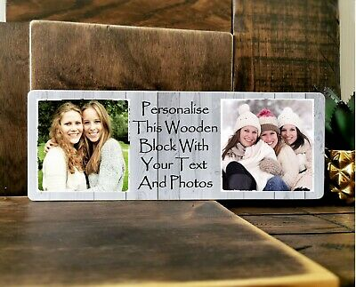 £9.99 • Buy 11x4  Personalised Wooden Family Photo & Text Block Frame Gif Best Friend Baby