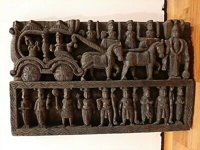 £103.99 • Buy Carved Wood Panel South India Art Decoration