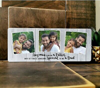 £11.99 • Buy 10x4  Personalised Family Photo Block Frame Dad Baby Grandad Father's Day Gif