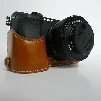 $ CDN10.01 • Buy Brown Leather Case Bag+ Hand Strap For Sony Alpha A6400 A6300 A6000 A6100 Camera