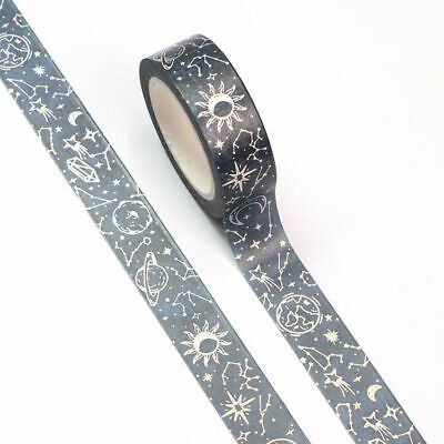 AU5.50 • Buy Washi Tape Celestial Holographic Silver Green Sun Moon Stars Crystal Sky Planets