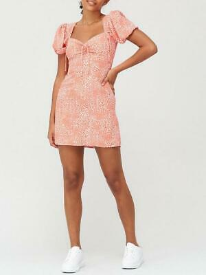 River Island Deep Coral Ruched Tie Tea Dress - Size: UK 8 • 19.99£
