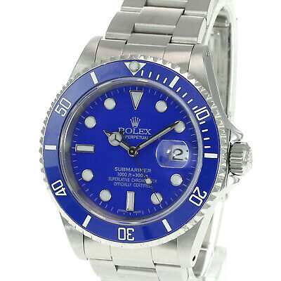 $ CDN14505.79 • Buy Rolex  Mens Submariner Stainless Steel Blue Dial Blue Insert 40mm Watch W/Papers