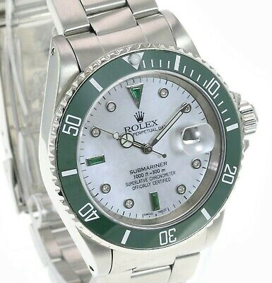 $ CDN14881.75 • Buy Rolex  Mens Submariner White MOP Diamond Emerald Dial Green Insert 40mm W/Papers