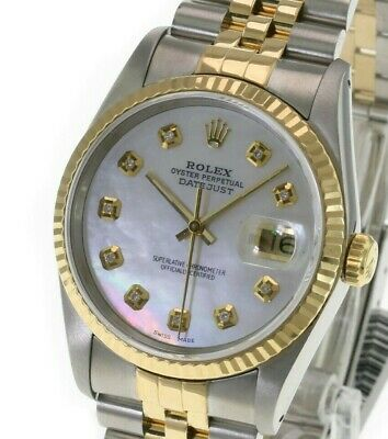 $ CDN8302.45 • Buy Rolex Mens Datejust 16233 36mm White MOP Diamond Dial 18K Gold Bezel Watch