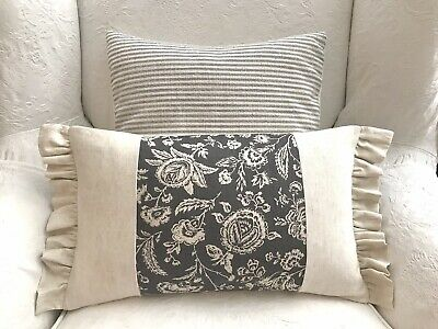 Cabbages And Roses Charcoal French Toile Natural Linen Fabric Cushion Cover Fril • 25£