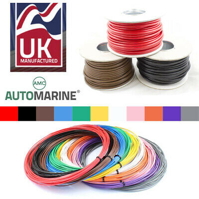 Single CORE Copper Wire Cable 12v 24v Thin Wall Wire All AMP Ratings 11 Colour • 26.95£