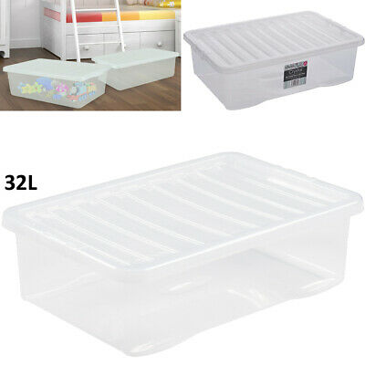 £19.99 • Buy 32L Wham Plastic Clear Storage Boxes Under-Bed Container Home Office Stackable