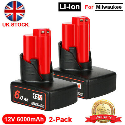 2x Fit For Milwaukee M12 LI-ION XC 6.0Ah High Capacity Battery 12V 48-11-2402 • 32.49£