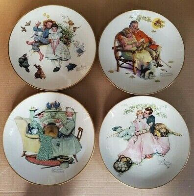 $ CDN25.09 • Buy Norman Rockwell Four Seasons Set 4 Gorham Limited Collector Plates Series 1973