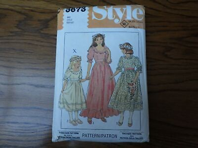£8.99 • Buy Vintage Sewing Pattern: Style 3673 Girls' Bridesmaid Dress 1980s. Size 4 & 6