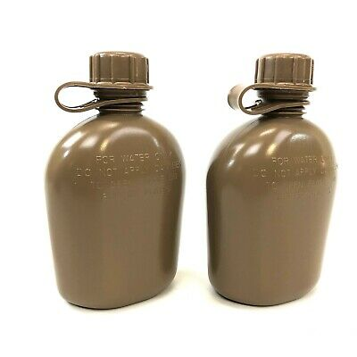 $ CDN19.34 • Buy 2 Collapsible 1 Quart Canteen Military Style Heavy Duty Plastic Bottle Coyote