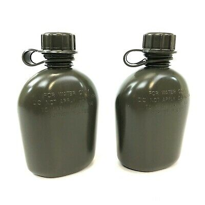 $ CDN19.34 • Buy 2 Collapsible 1 Quart Canteen Military Style Heavy Duty Plastic Bottle OD Green