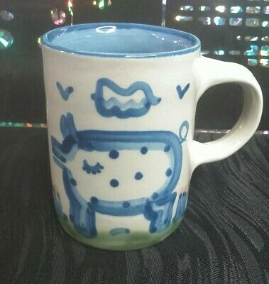 $12.76 • Buy M.A. Hadley Pottery Pig Coffee Cup White With Blue Country Pattern Mug