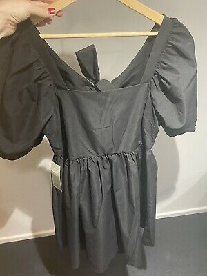 £25 • Buy H&M Bloggers Fave Sold Out RARE Blk Poplin Mini Backless Bow Dress Free People