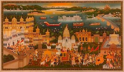 $2999.99 • Buy Original Hand Painted Golden Royal Maharaja Of Udaipur Procession Fine Painting