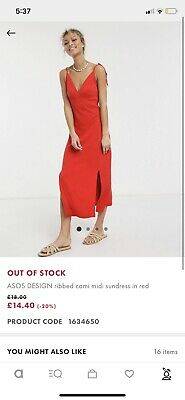 AU18 • Buy Womens Size 16 Red Ribbed Dress Asos