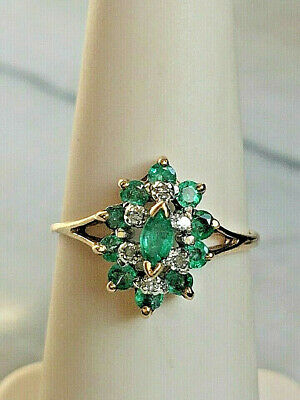 £130.98 • Buy Yellow Gold Emerald & Diamond Cocktail Ring Size 5.25