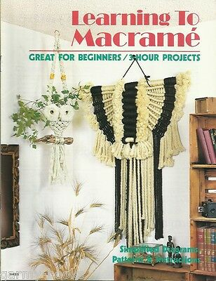 $11.48 • Buy Learning To Macrame Beginner's Vintage Pattern Book 3-Hour Projects NEW