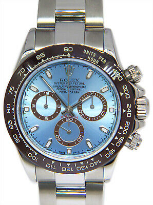 $ CDN32043.80 • Buy Rolex Daytona Chronograph Steel Blue Dial Brown Ceramic Bezel Mens Watch 116520