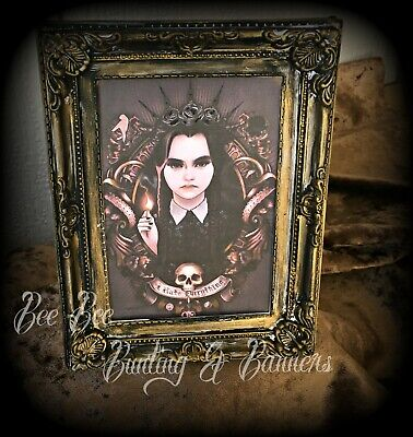 Frame Picture Wednesday Addams Family Hand Decorated  Goth Horror Gift   • 9.99£