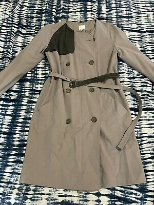 AU29.95 • Buy Beautiful Trench Coat By ASOS WHITE, Size 14, Nearly New. Real Leather Trim