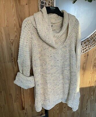 Free People Slouchy Jumper Knitted Leo Tunic Sweater, Size Small • 19.99£