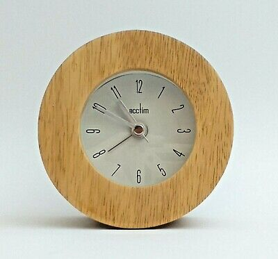 £14.98 • Buy Wooden Circular Round Bedside Stand-up Battery 9cm Alarm Clock Acctim