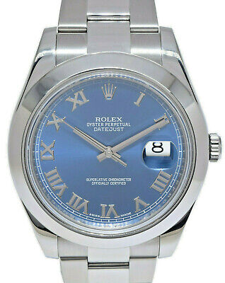 $ CDN11221.64 • Buy Rolex Datejust II Steel Blue Roman Dial Oyster Bracelet Mens 41mm Watch 116300