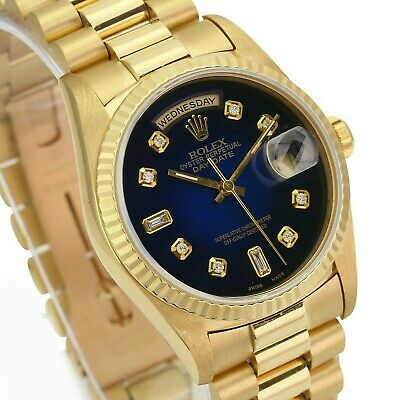 $ CDN21837.02 • Buy Rolex Mens Day-Date 18K Yellow Gold Blue Vignette Diamond Dial 36mm Watch