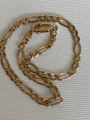 AU180 • Buy 9ct Solid Yellow Gold Flat Figaro Link 3:1 Bracelet      20.25 Cms