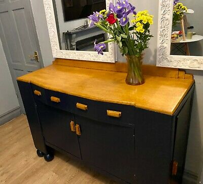 Up Cycled, Navy Blue, Solid, Antique Sideboard /cabinet • 125£