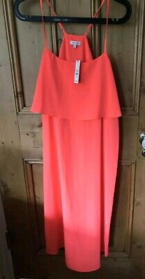 💕 New With Tags RIVER ISLAND BNWT Size 8 Coral Summer Strappy Midi Dress  • 14.99£
