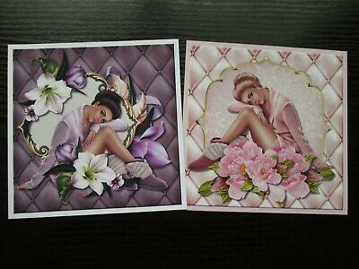 £1.25 • Buy NEW===  2 X BEAUTIFUL LADY /GIRL WITH FLOWERS Card Toppers & Sentiments