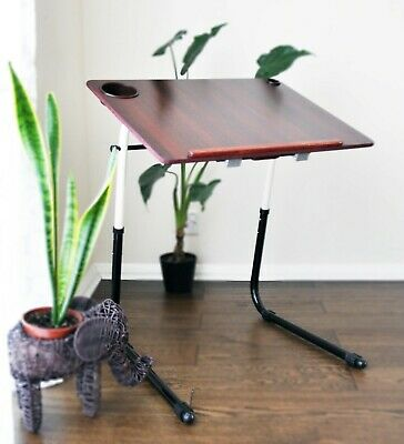 £29.95 • Buy Adjustable Portable Laptop Desk Table Stand - Rosewood And Metal