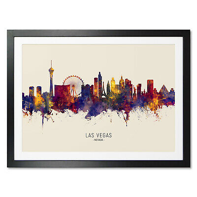 £13.99 • Buy Las Vegas Skyline, Poster, Canvas Or Framed Print, Watercolour Painting 14972