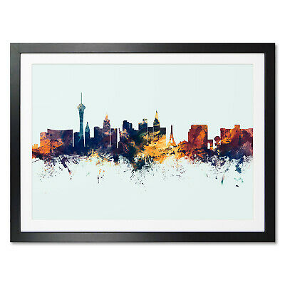 £13.99 • Buy Las Vegas Skyline, Poster, Canvas Or Framed Print, Watercolour Painting 1614