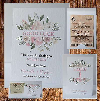 £2.50 • Buy Personalised Wedding Lottery Ticket / Scratch Card Holders, Thank You Tags W61