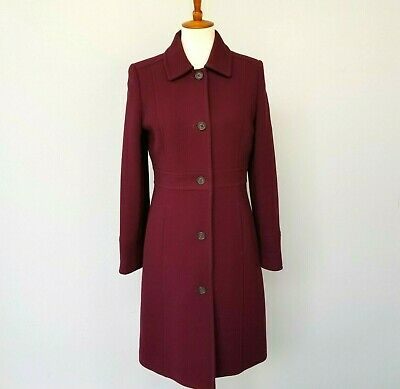 AU206.80 • Buy J. Crew 8 Classic Burgundy Day Coat Double-cloth Wool With Thinsulate