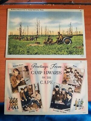 $4.49 • Buy Lot 10 Ten Camp Edwards Massachusetts Military Army WW2 WWII Marines Linen Cards