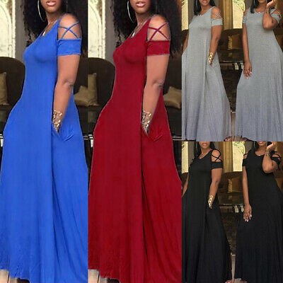 £18.59 • Buy Plus Size Womens Cold Shoulder Short Sleeve Long Maxi Dress Casual Party Dress