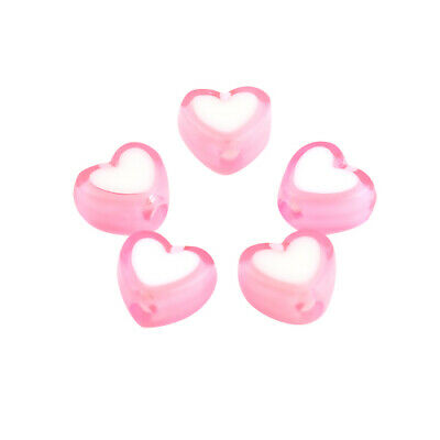 £1.29 • Buy ❤ 50 X PINK/WHITE Acrylic HEART 8mm Jewellery Making Spacer Beads ❤