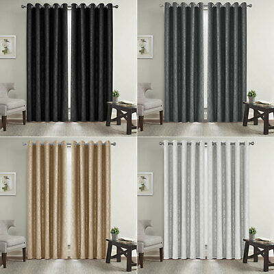 £20.99 • Buy New Sound Proof Heavy Insulated Thermal Embossed Blackout Curtain Ring Top Pairs