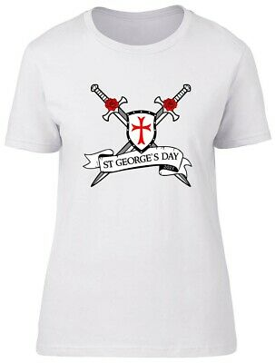 £10.99 • Buy St George's Day Sword And Scroll Fitted Womens Ladies T Shirt